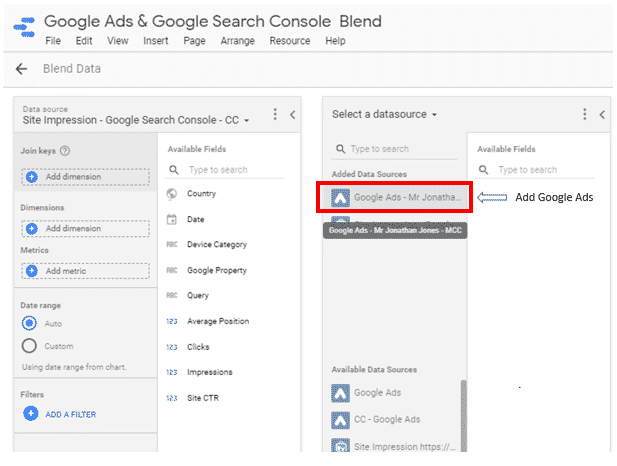 Add Google Ads (blends)