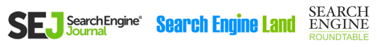 Featured on Search Engine Land, Search Engine Journal & Search Engine Roundtable (logos)