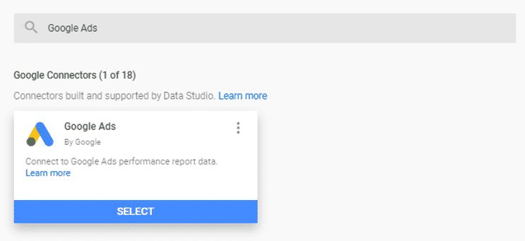Google Ads importing to Google Data Studio