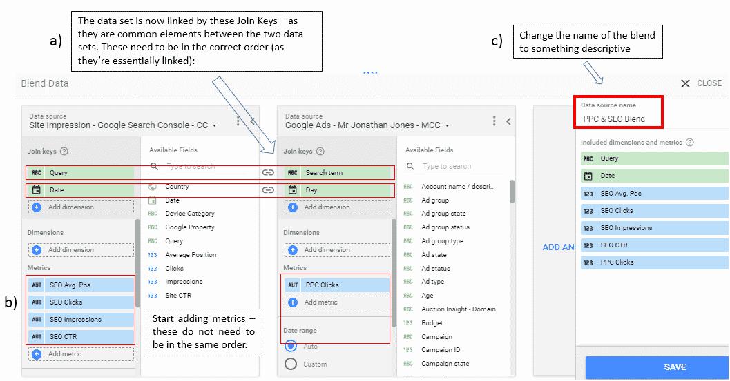 Join Keys & Adding Metrics - Google Data Studio